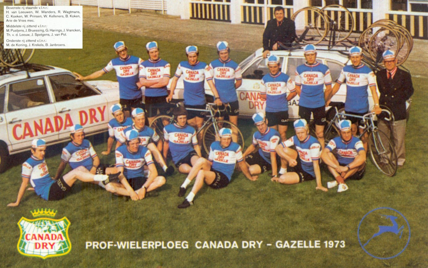 The 1973 Canada Dry - Gazelle cycling team line up.