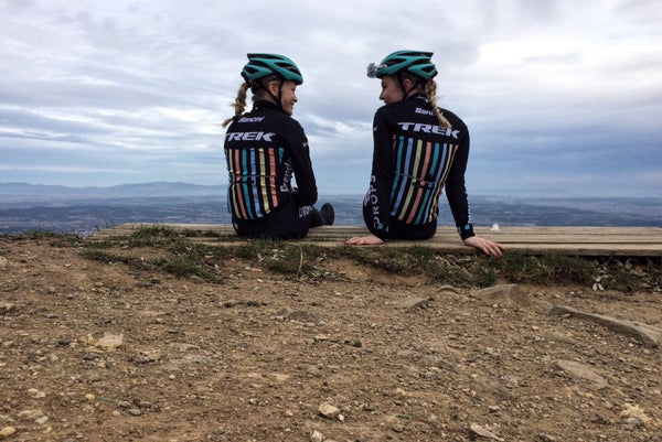 Nothing like enjoying the view! Lucy Shaw and Ellie Mae (Drop Cycling Team) take it easy in Girona
