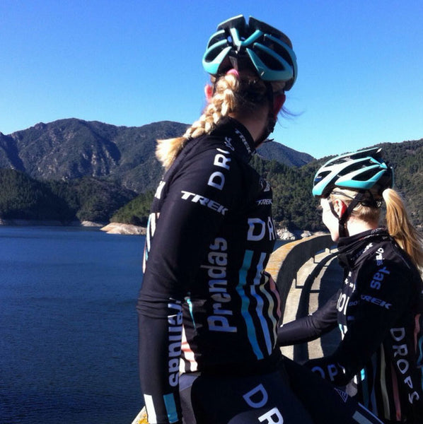 Lucy Shaw and Ellie Mae (Drop Cycling Team) enjoying the view on a cycle training camp!