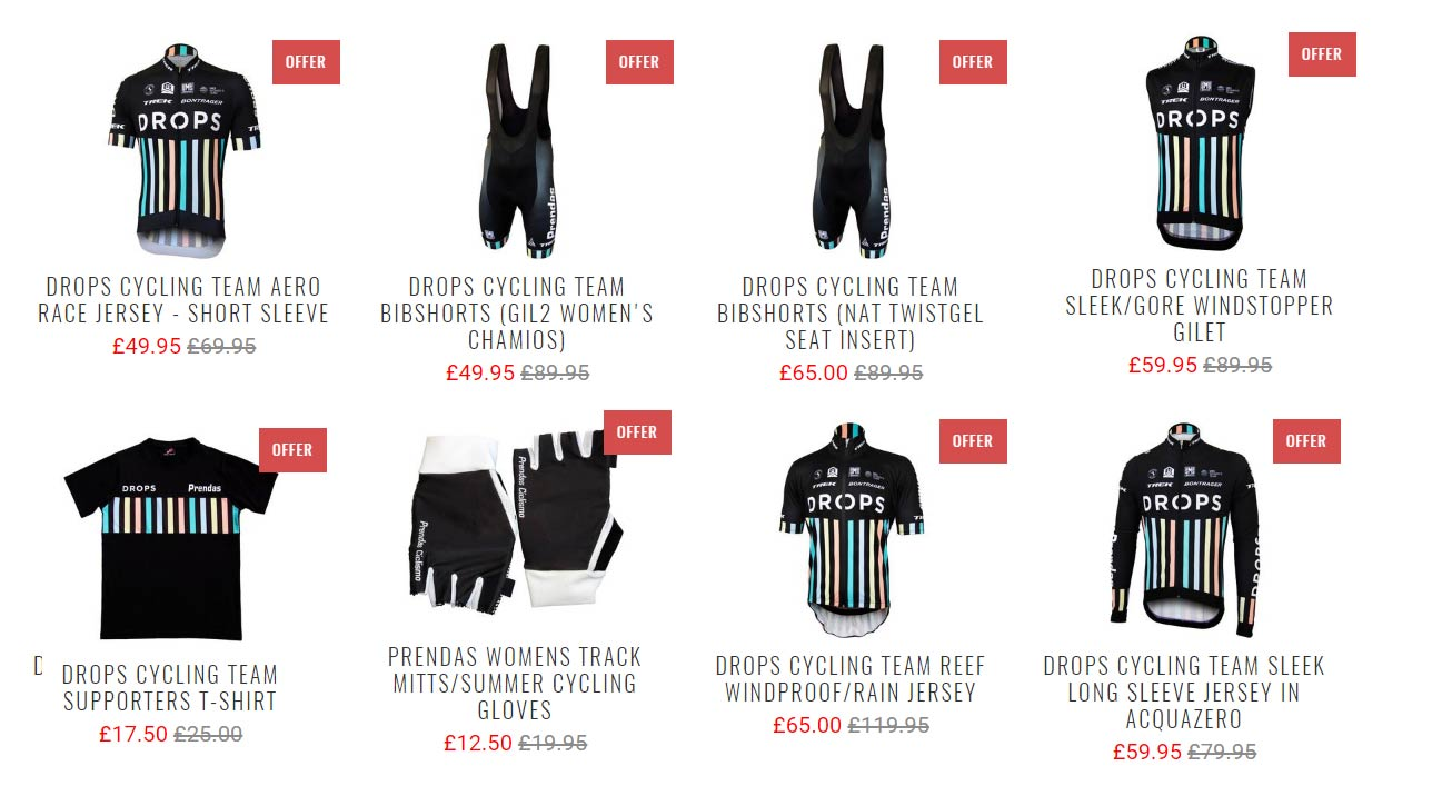 Great prices/Reductions: Drops Cycling Team Clothing