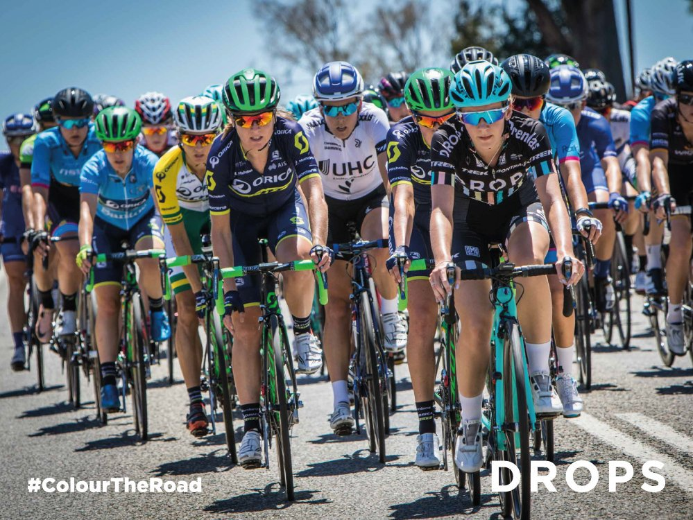 Drops Cycling Team in action at the #TDUWomens #ColourTheRoad