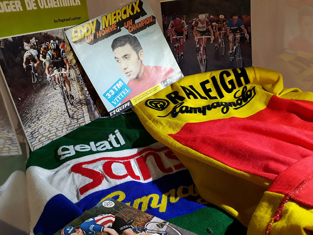 On display: An original TI Raleigh wool jersey and Gelati Sanon Campagnolo wool jersey