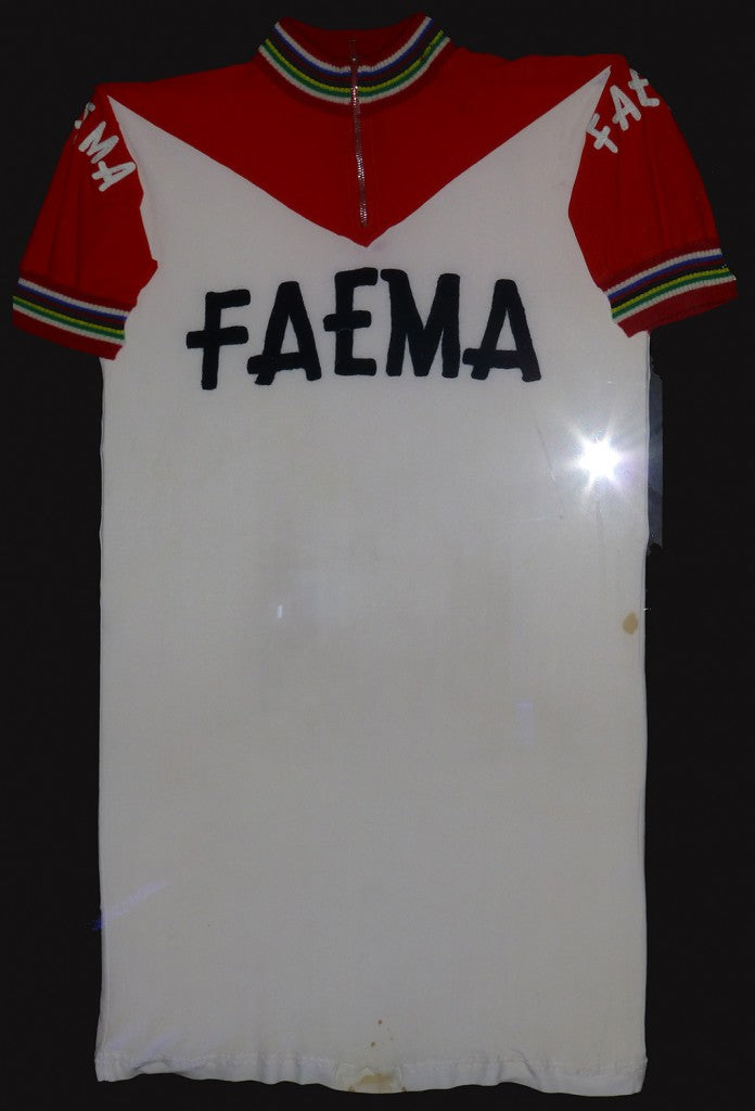 Eddy Merckx's 1968 Faema six day jersey with world championship bands on the collars / cuffs.