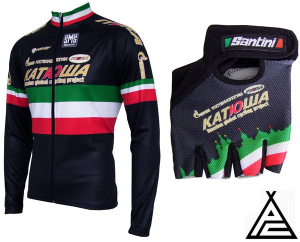 46b7ef020 The special edition Filippo Pozzato Italian Champion long sleeve jersey and  summer gloves