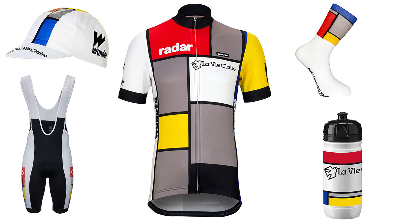 La Vie Claire Retro team cycle clothing by Santini available at Prendas Ciclismo