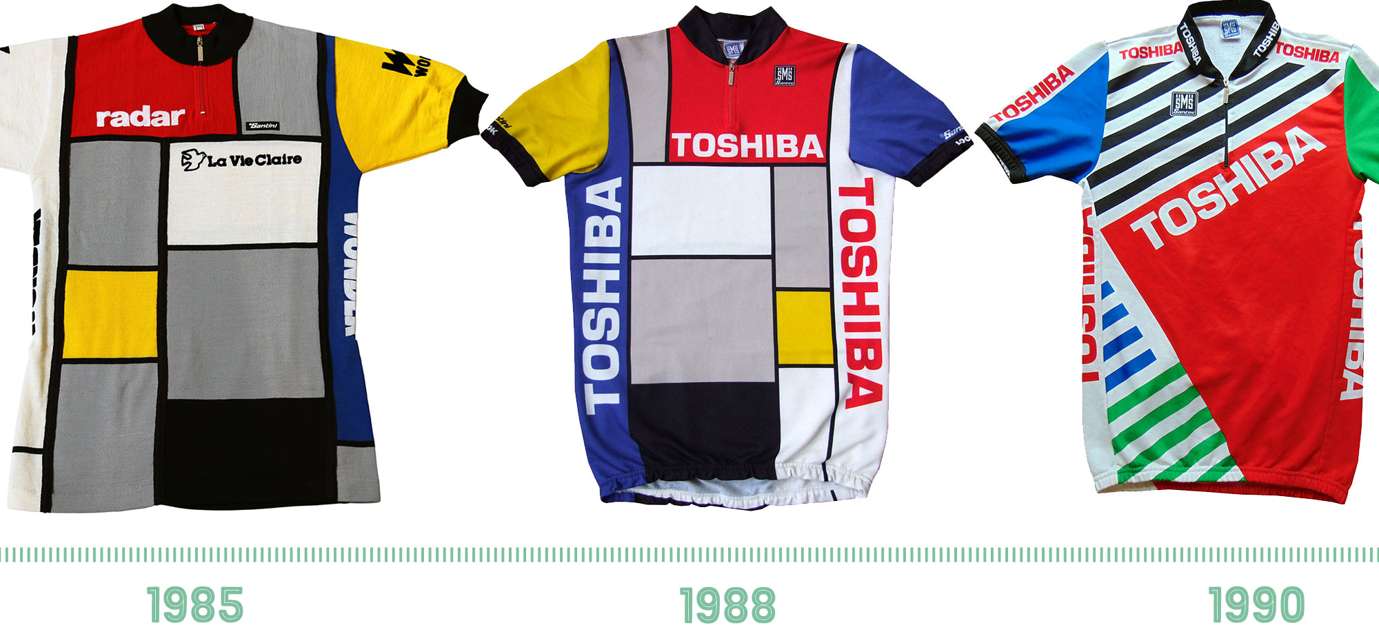 The La Vie Claire jersey of 1985, Toshiba jersey of 1988 and the Toshiba jersey of 1990.