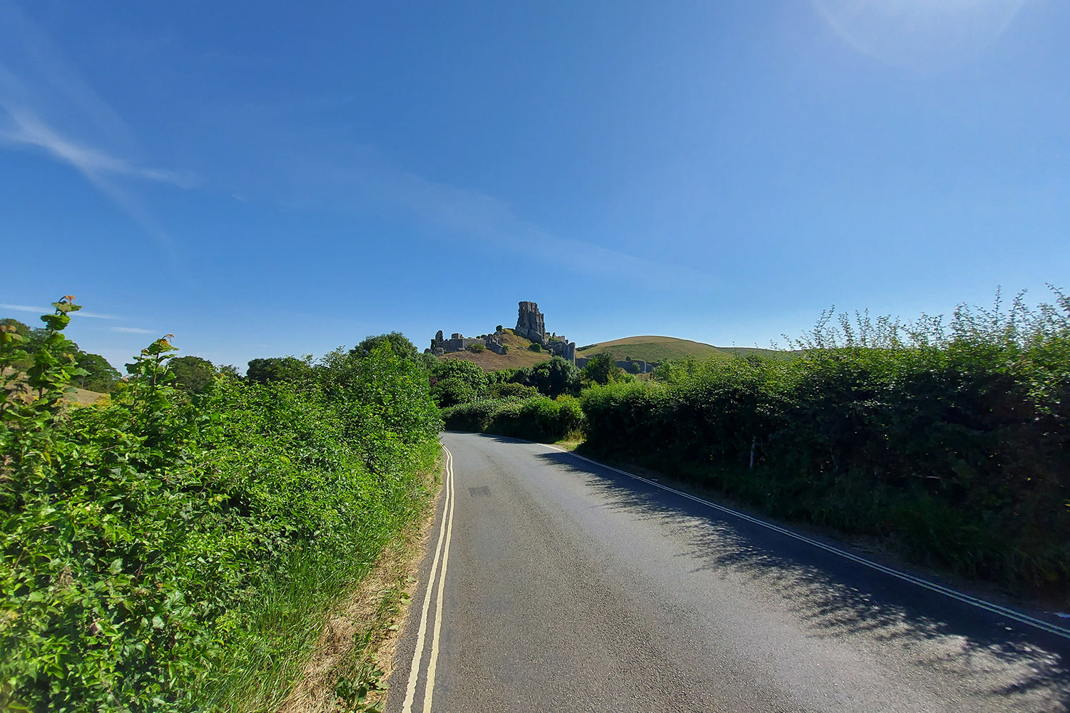 If you look behind you on the road to Church Knowle and Steeple, you see what we think is on of the best view of Corfe Castle.