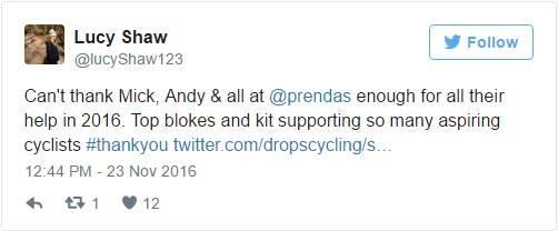 Lucy Shaw: Can't thank Mick, Andy & all at @prendas enough for all their help in 2016. Top blokes and kit supporting so many aspiring cyclists #thankyou