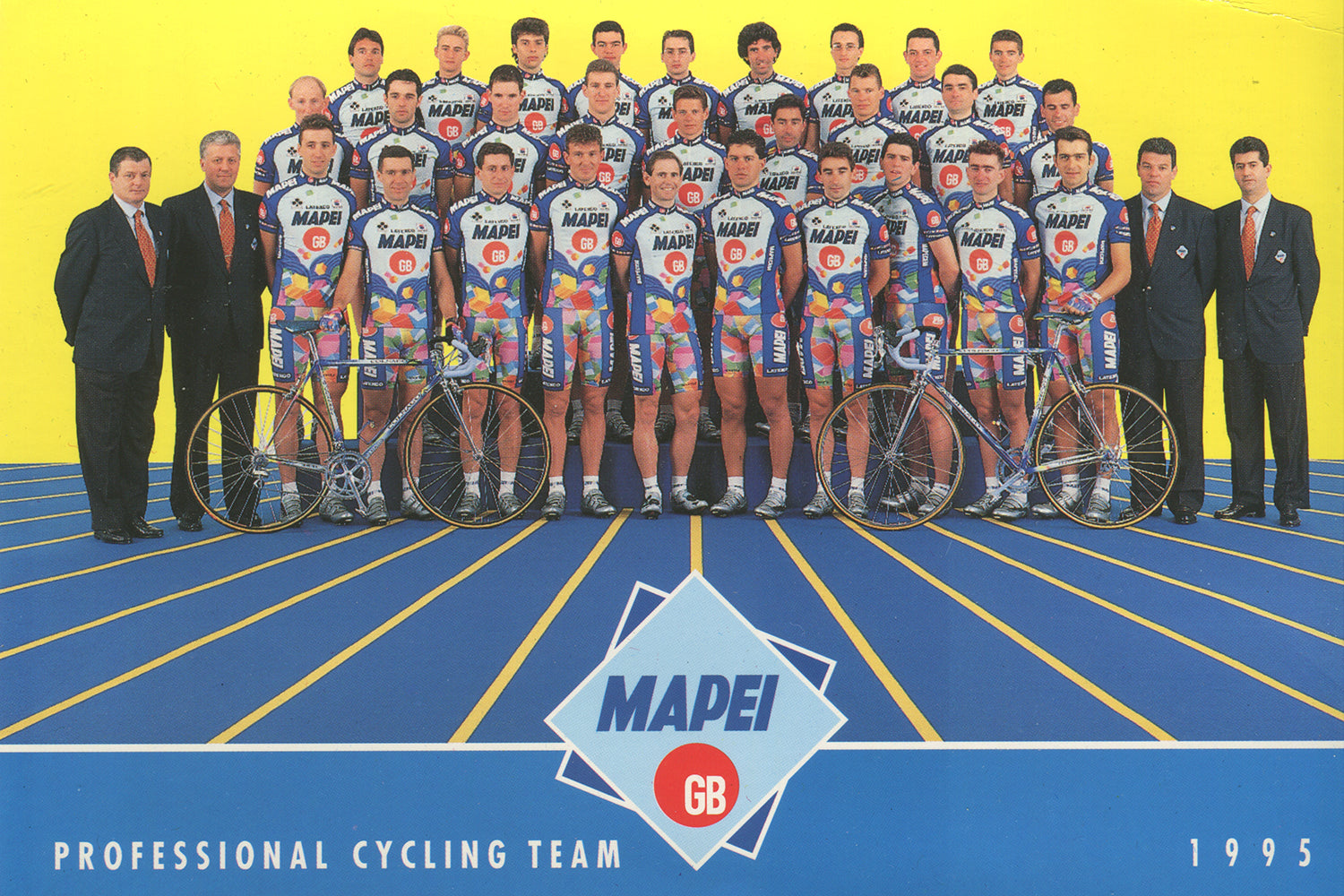 The MAPEI-GB cycling team postcard from the 1995 season with sponsors Mapei, GB, Latexco, Shimano, Colnago, Sportful, Briko and Enervit.