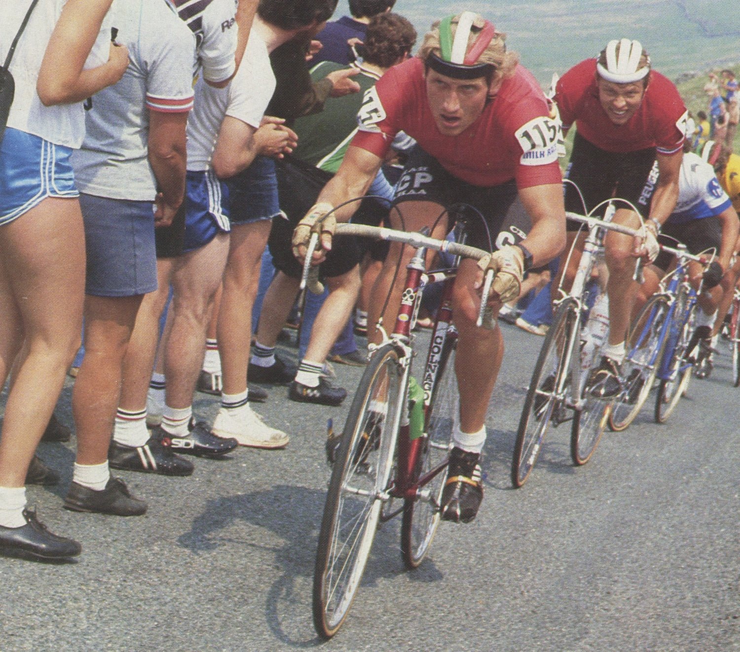 Milk Race, 1983.  A rather common sight in the 1980s was that of the USSR cycling team on the front of the bunch aboard their colour coordinated Colnago bicycles.