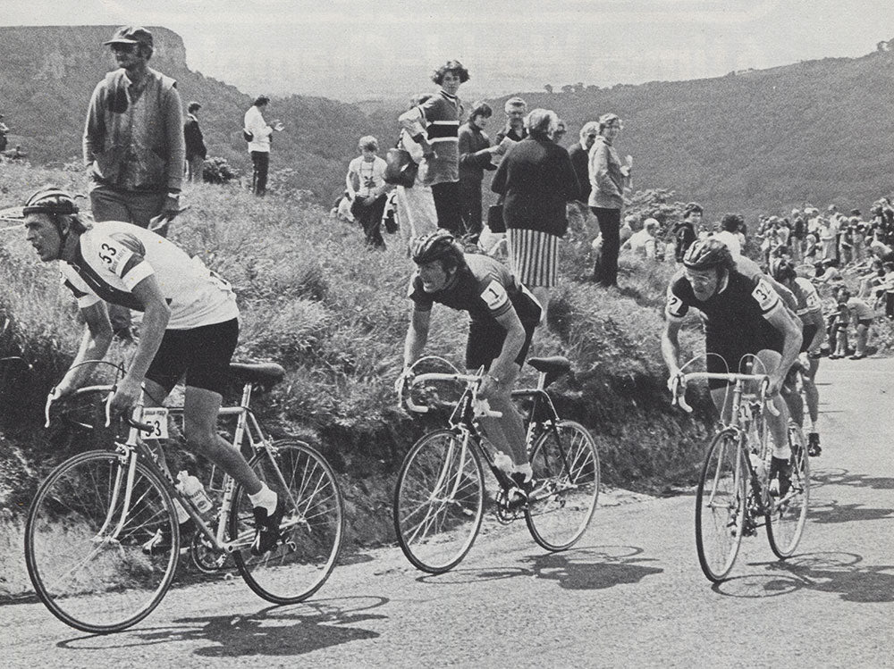 Jan Kiewicz (Poland) leads Bob Downs (GB) and Billy Kerr (Ireland) on the 1st category climb of Sutton Bank.