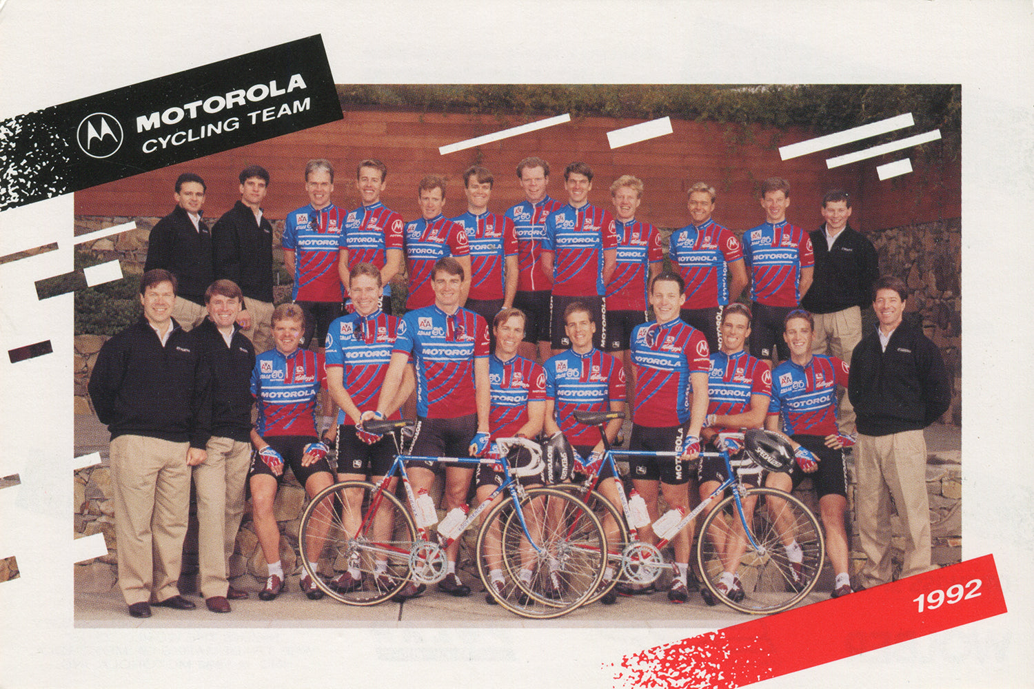 Motorola cycling team postcard from the 1992 season featuring some nifty corporate chinos!