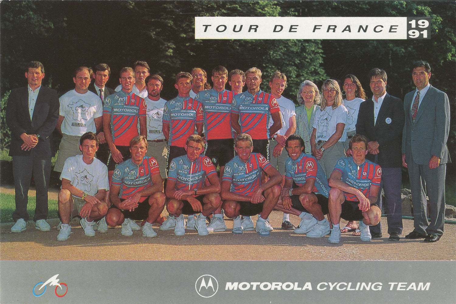 A Motorola cycling team postcard specifically made for the 1991 Tour de France including the team's bike sponsor Eddy Merckx.