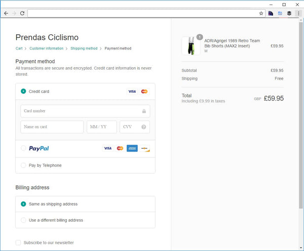 Screen shot of the new checkout process