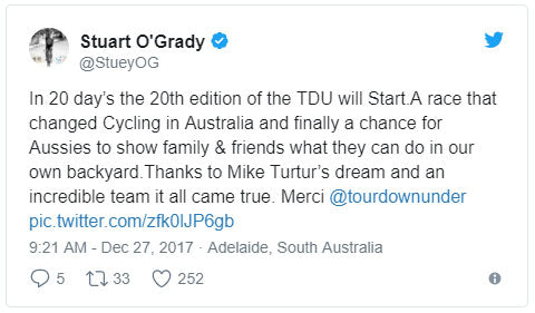 In 20 day's the 20th edition of the TDU will Start.A race that changed Cycling in Australia and finally a chance for Aussies to show family & friends what they can do in our own backyard.Thanks to Mike Turtur's dream and an incredible team it all came true. Merci @tourdownunder