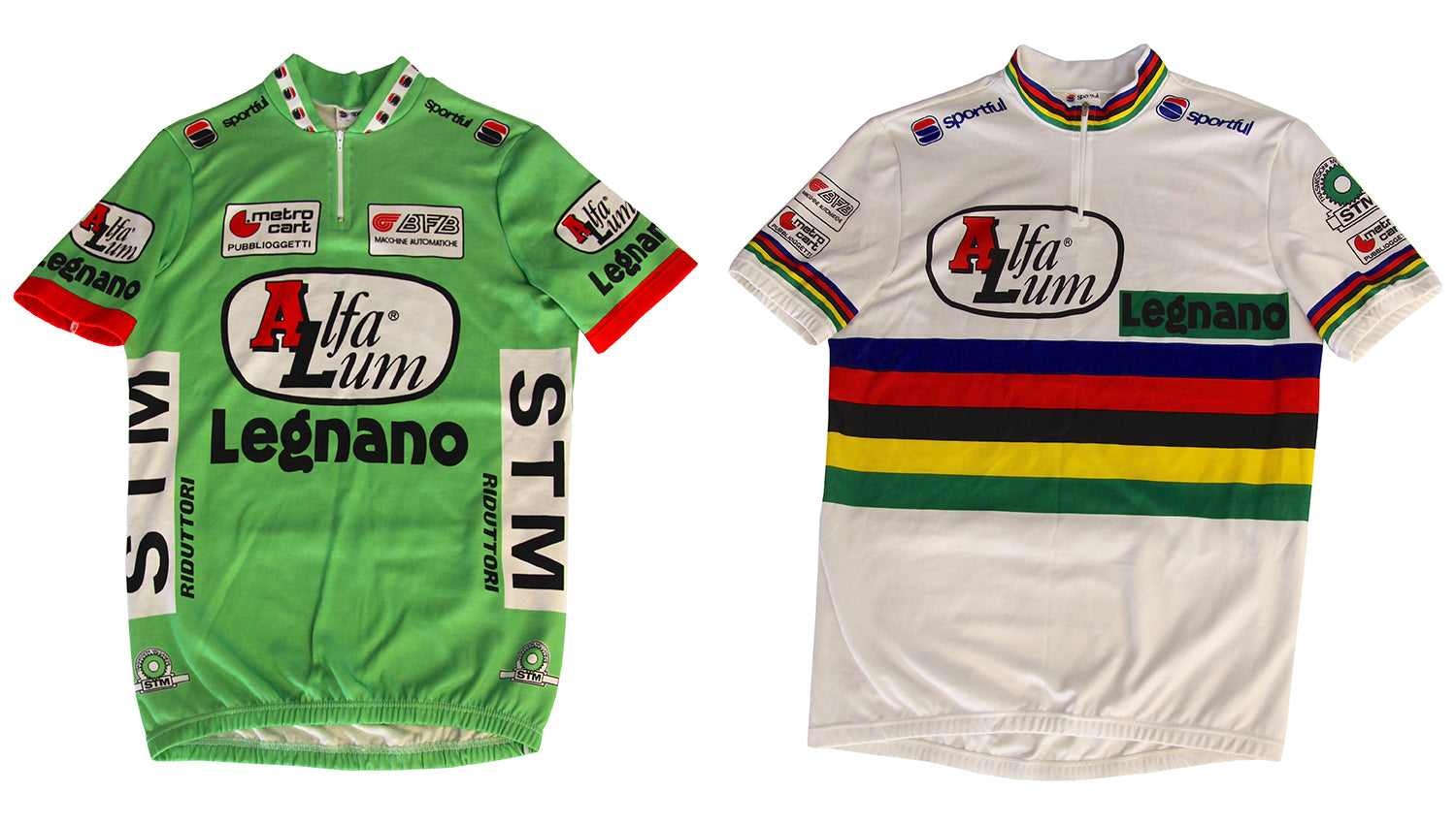 The 1988 Alfa Lum/Legnano team jersey and Fondriest's World Champion jersey that Sportful made before he made his big money move to Del Tongo for 1989.