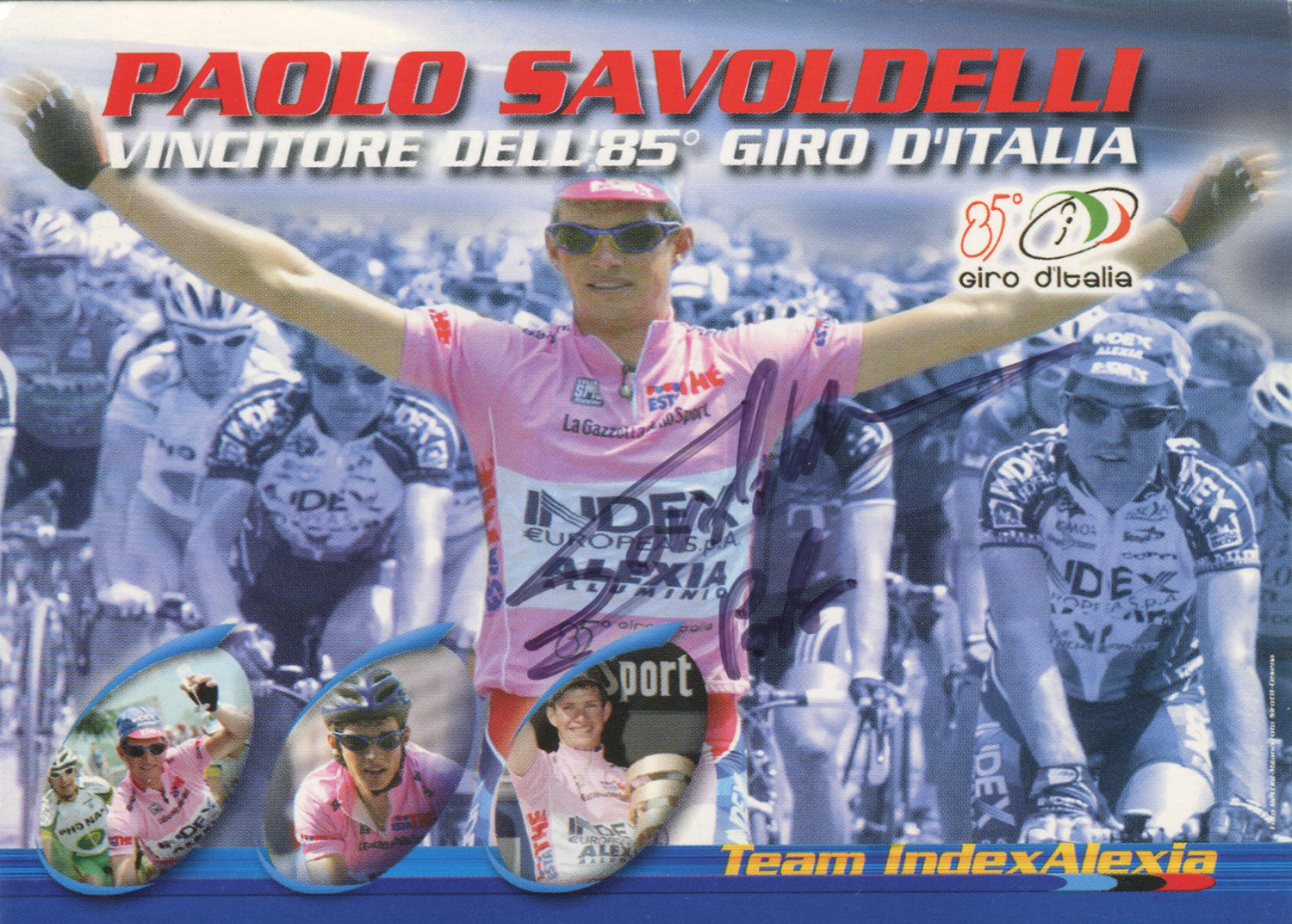 This signed postcard celebrates Paolo Savoldelli winning the 85th edition of the Giro D'Italia in 2002.