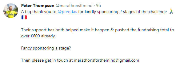 A big thank you to @prendas for kindly sponsoring 2 stages of the challenge.