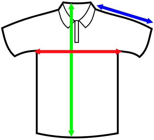 Picture showing where you need to measure your existing garment to determine what size you will need.