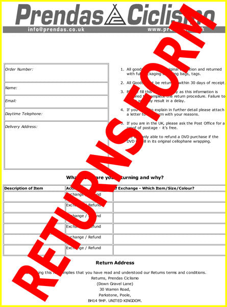 Please print out this blank prendas returns form