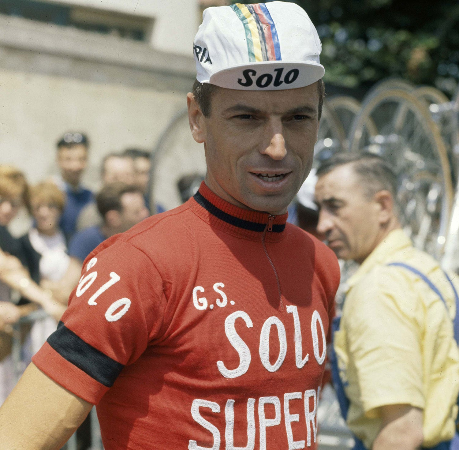 Rik Van Looy donning the iconic Solo-Superia red jersey. Photo credits: Offside / L'Equipe.
