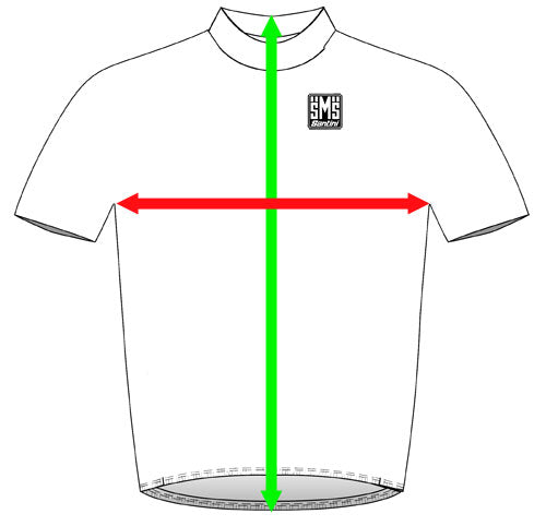 Picture showing where you need to measure your jerseys to determine what size you will need.