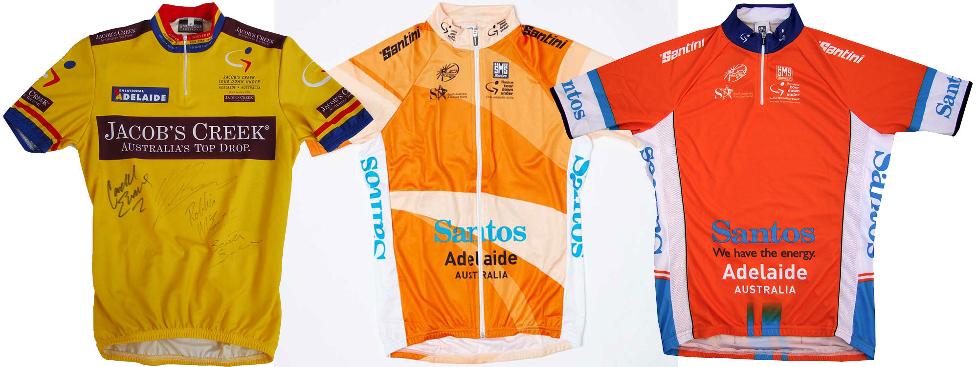 A selection of Tour Down Under Leaders Jerseys - plenty of difference in the shade of Ochre used during it's history!