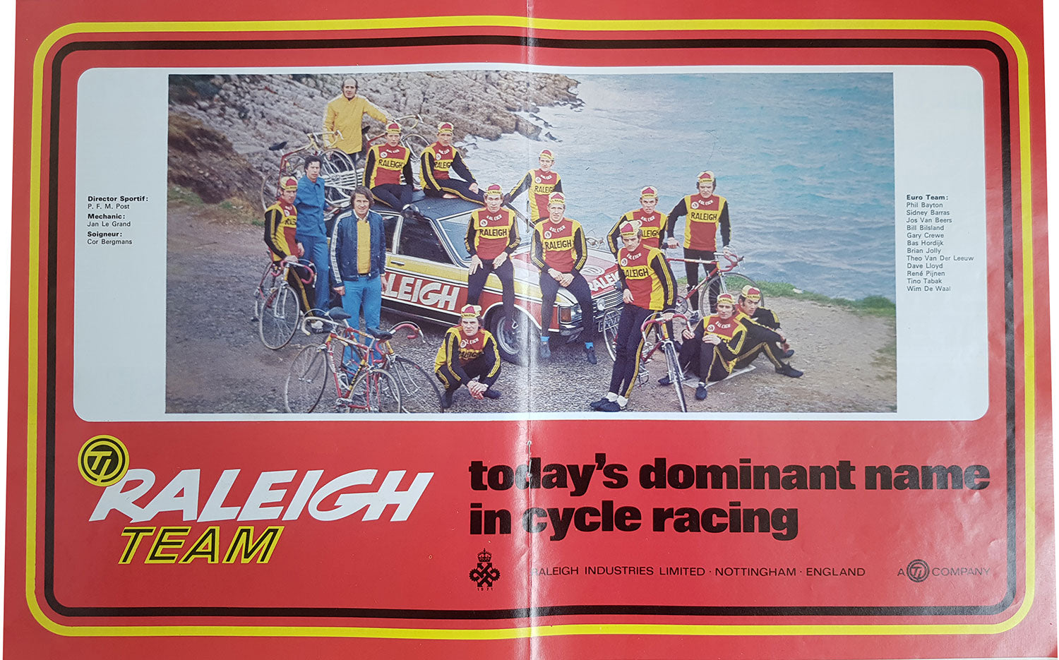 The TI Raleigh double page spread magazine advert that featured in International cycle Sport issue Number 70 (March 1974).