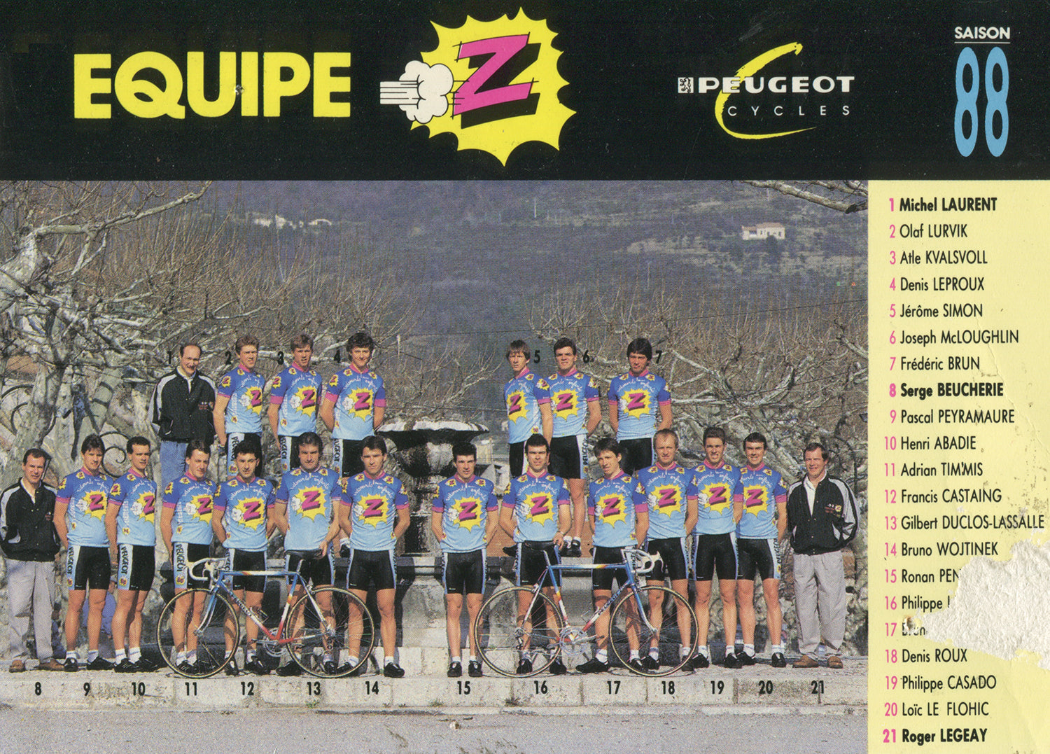 Vêtements Z-Peugeot Cycling Team postcard from 1988