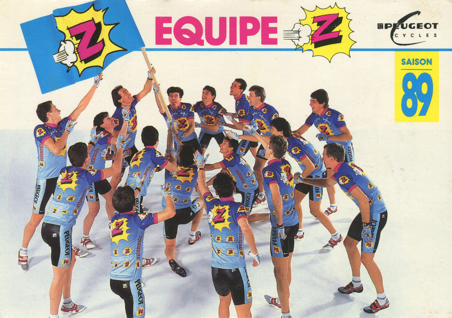 Vêtements Z-Peugeot Cycling Team postcard from 1989