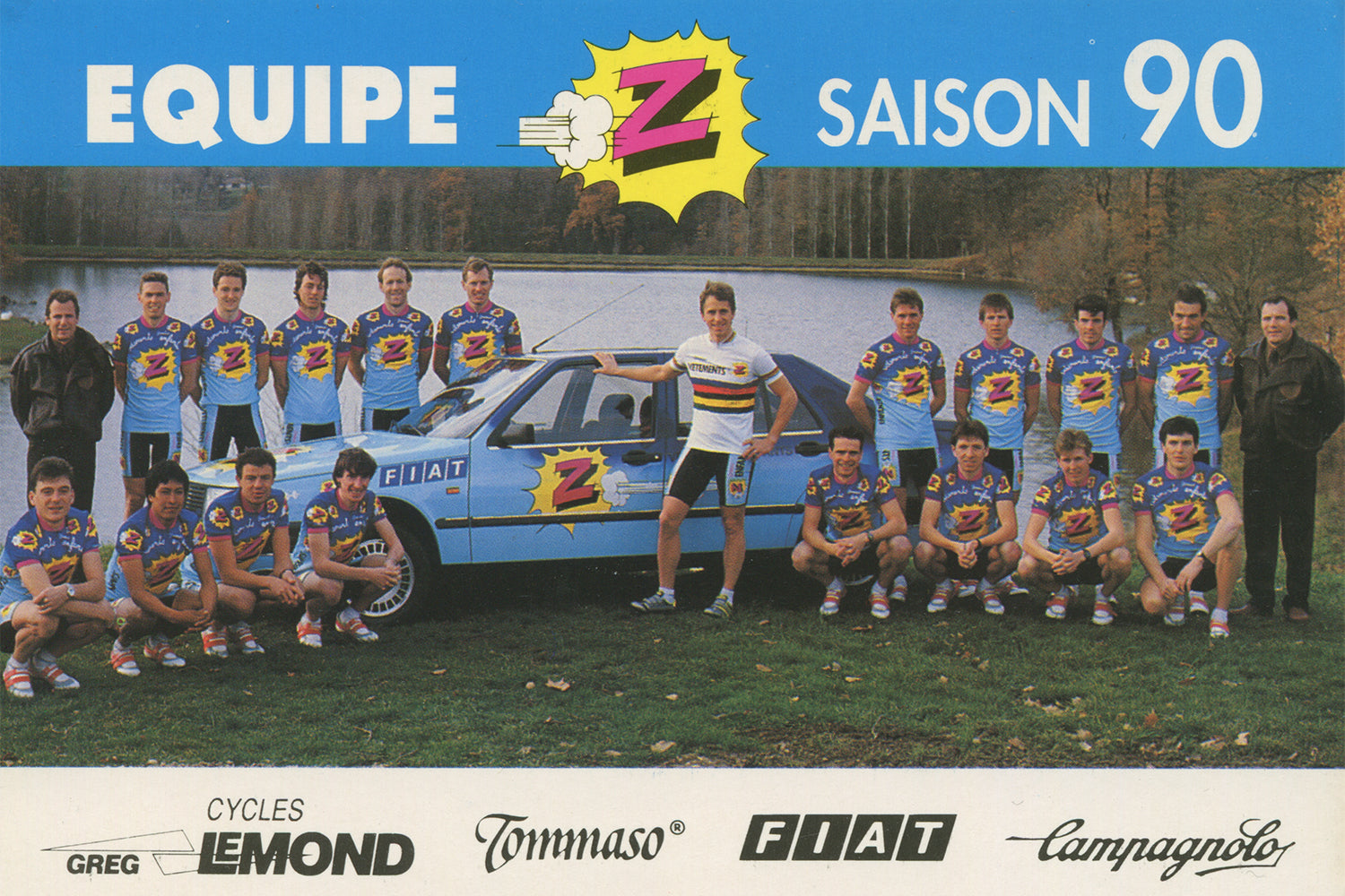 Equipe Vêtements Z-Peugeot Cycling Team postcard from 1990 with world champion Greg Lemond in the centre in his rainbow jersey.