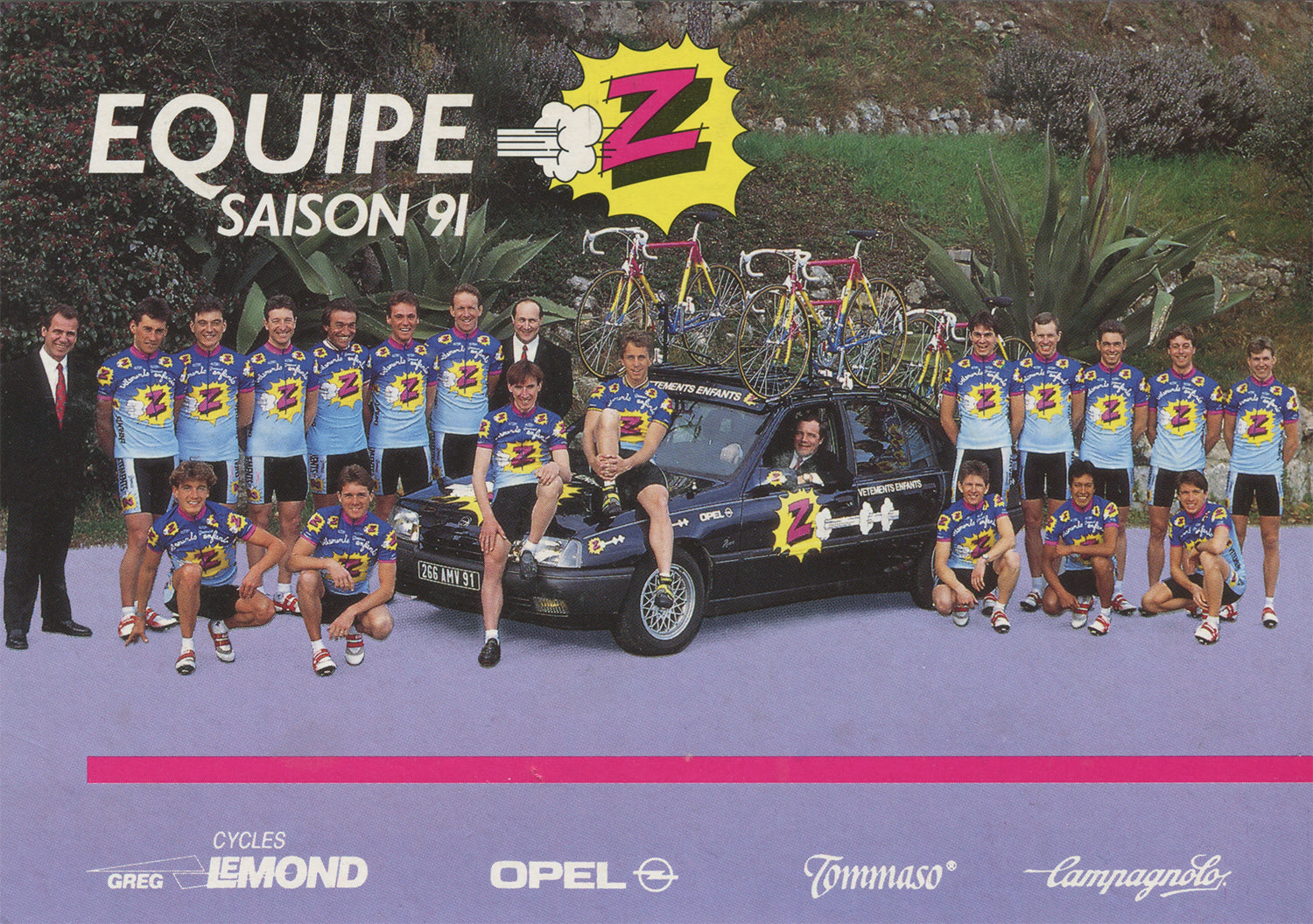 Vêtements Z-Peugeot Cycling Team postcard from 1991