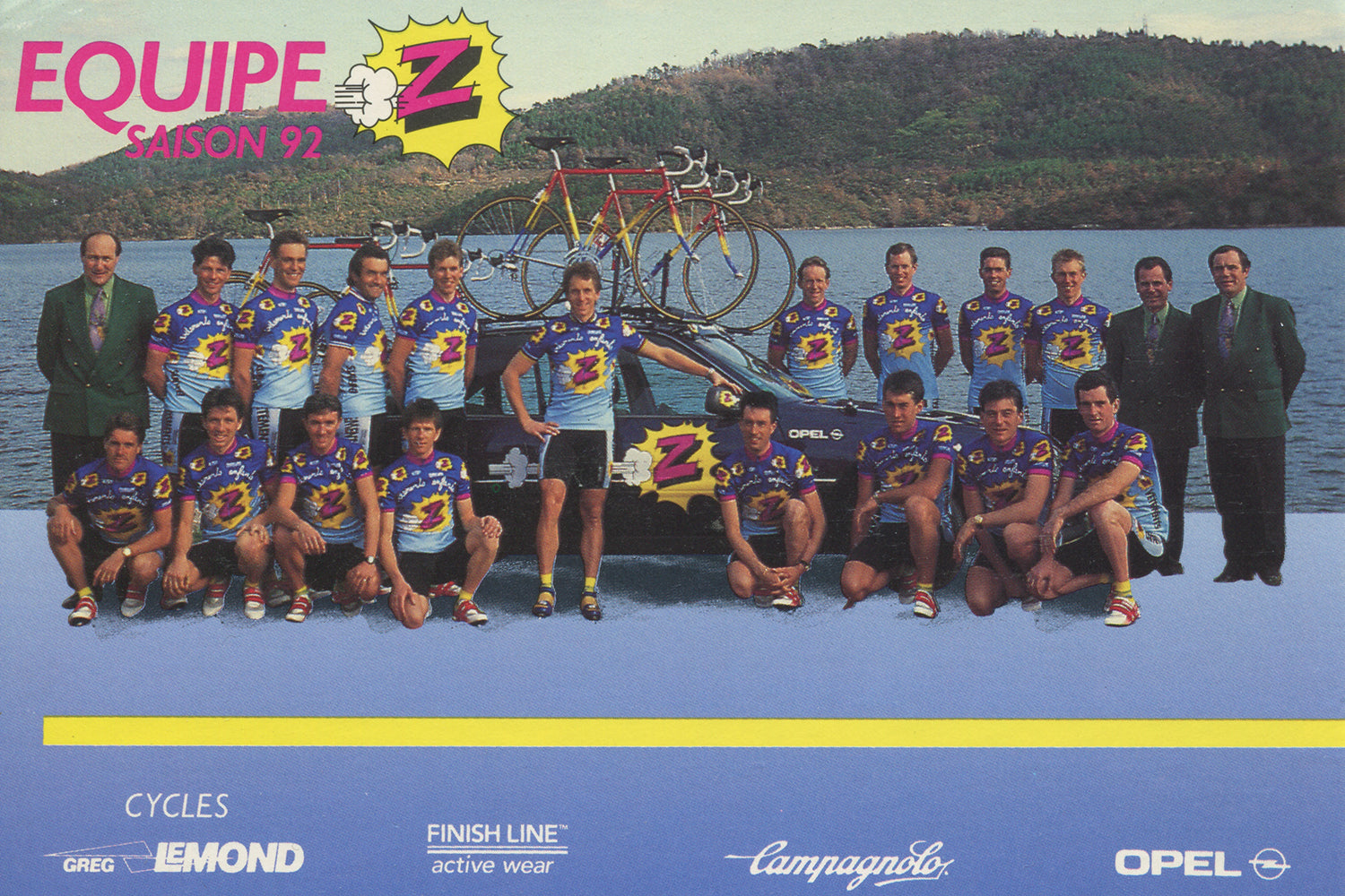 Equipe Vêtements Z-Peugeot Cycling Team postcard from 1992 with Greg Lemond in the centre.