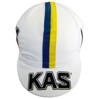 The KAS Retro Cap Features a Blue and Yellow Ribbon