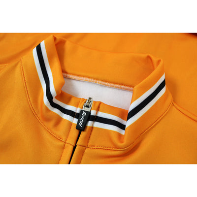 The Subtle Black and Orange Stripes Feature on the Collar and Cuffs