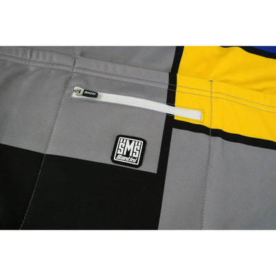 A Fourth Pocket with Zip Enclosure is on the Back with a Santini Rubber Logo