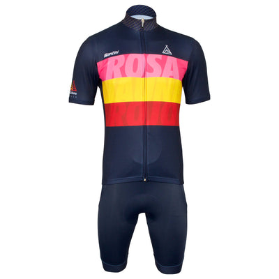 Group photograph of the Grand Tour Celebration short sleeve jersey and bib shorts.