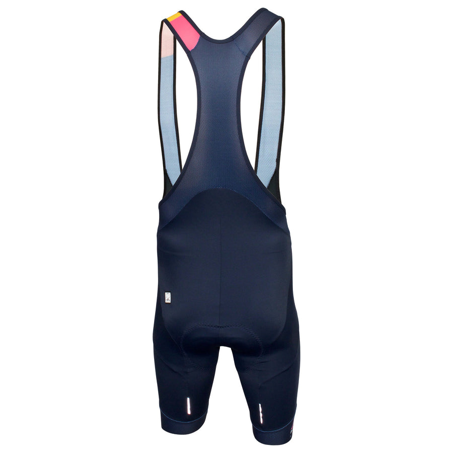 The Grand Tour Celebration bib shorts feature Santini's NAT seat pad as well as numerous technical features.