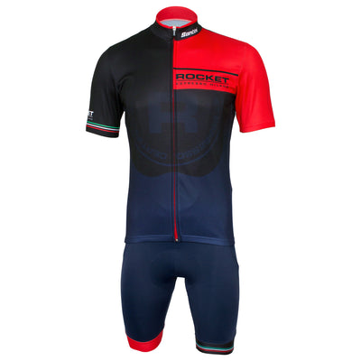 Group photograph of the Rocket Espresso 2.0 short sleeve jersey and bib shorts.