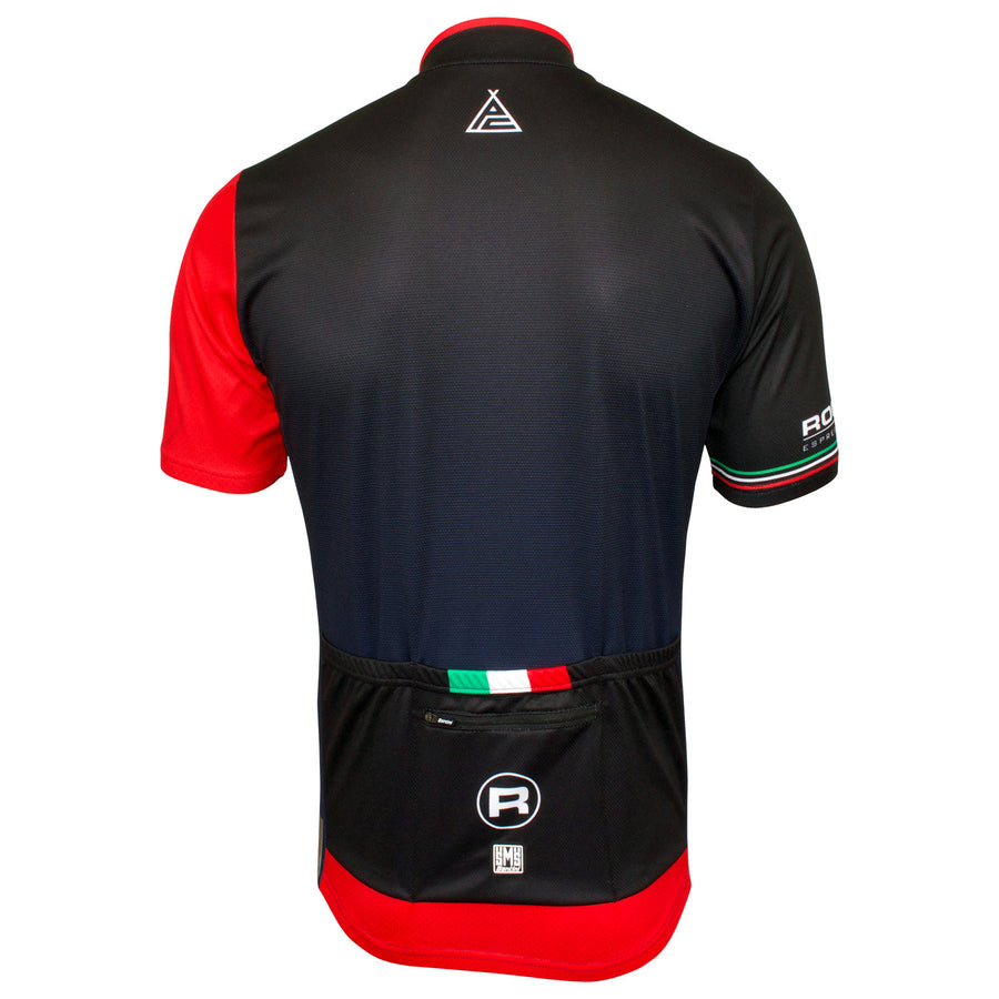 Front of the Rocket Espresso Milano Long Sleeve 2.0 Jersey with it's fully covered front zip.