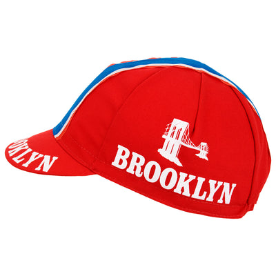 Brooklyn Retro Red Cotton Cycling Cap