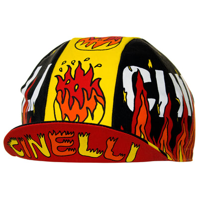 Peak up view of the Cinelli Ana Benaroya Fire Cotton Cycling Cap, showing the underside of the peak with Cinelli printed in yellow/orange against red.
