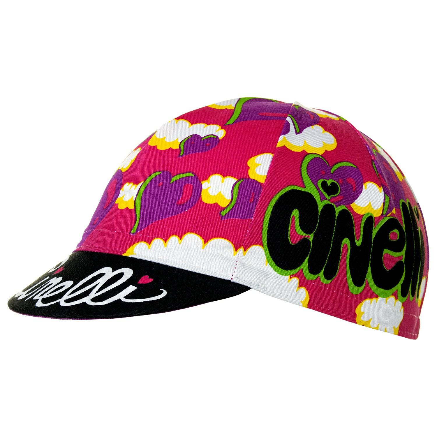 Side view of the Cinelli Ana Benaroya Heart Cotton Cycling Cap. See the Cinelli logos on the top of the peak and on each side in amongst that stunning pink, purple, white and black design.