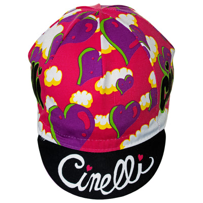 Front of the Cinelli Ana Benaroya Slime Cotton Cycling Cap. The Cinelli logo is printed in white against a contrast black background.