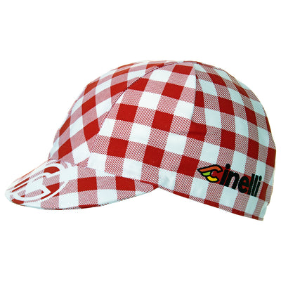 Side view of the Cinelli Ciao Italia Cotton Cycling Cap.  A white Winged C logo is printed on the peak with Cinelli printed in colour on each side.