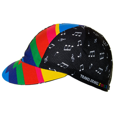 Side view of the Cinelli Zydeco Cotton Cycling Cap, showing the colourful central band and peak, along with the ventilation holes on the side panels.