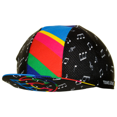 Peak up view of the Cinelli Zydeco Cotton Cycling Cap, with the mutli-coloured Cinelli Winged C logo on underside.