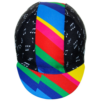 Front of the Cinelli Zydeco Cotton Cycling Cap showing the wonderfully bright and distinctive design on the central band and peak.