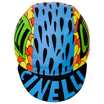 Front of the Cinelli Ana Benaroya Poseidon Cotton Cycling Cap, where you can see the word Cinelli printed in blue on the top of the peak.