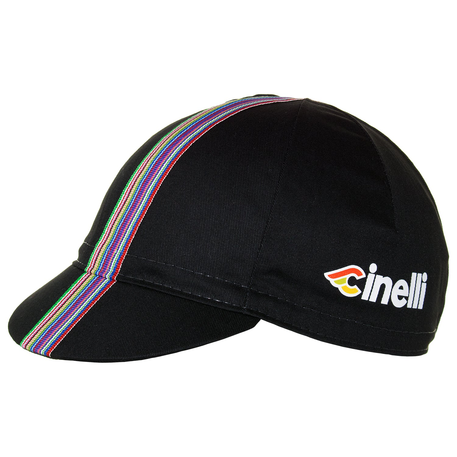 Side of the Cinelli Ciao Black Cotton Cycling Cap. The Cinelli logo is printed on the side and that wonderful multicoloured woven twill ribbon down the centre.